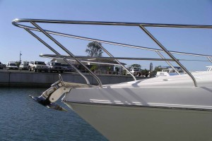 Stainless hand rails on boat