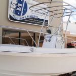 Stainless steel awning, targa top and safety rails for runabout boat Australia