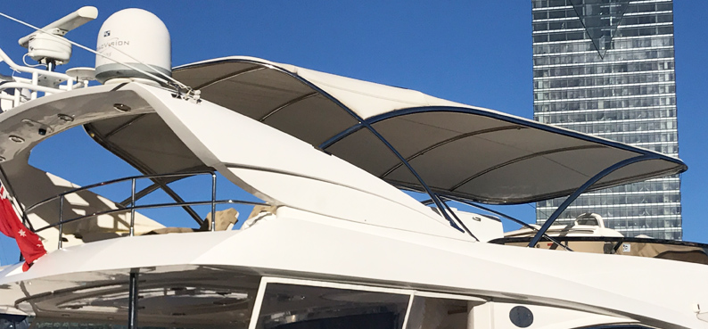 Custom stainless steel boat canopy