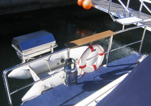 Stainless Steel Cookout BBQ and Bait Board on Duckboard Rail