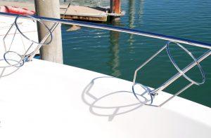 Stainless boat Fender Baskets on Maritimo