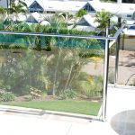 Residential stainless fencing with glass panels