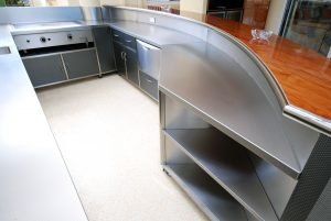 Residential stainless steel outdoor kitchen and bar