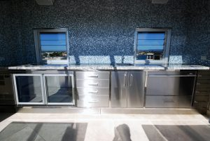 Residential stainless steel outdoor kitchens and benches
