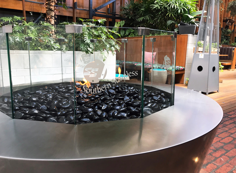 Round gas fire pit, Osbourne Hotel Brisbane
