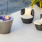 Gas round Australian fire pit with glass pebbles