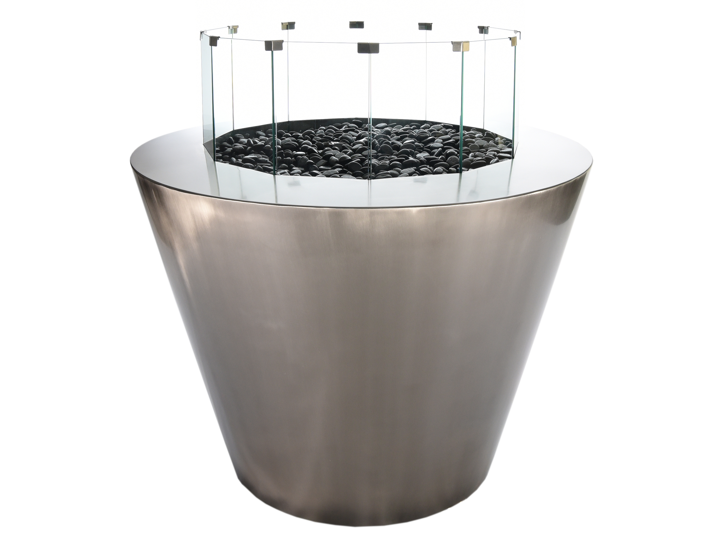 round stainless gas fire pit