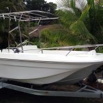 Australian stainless runabout boat awning and Bimini