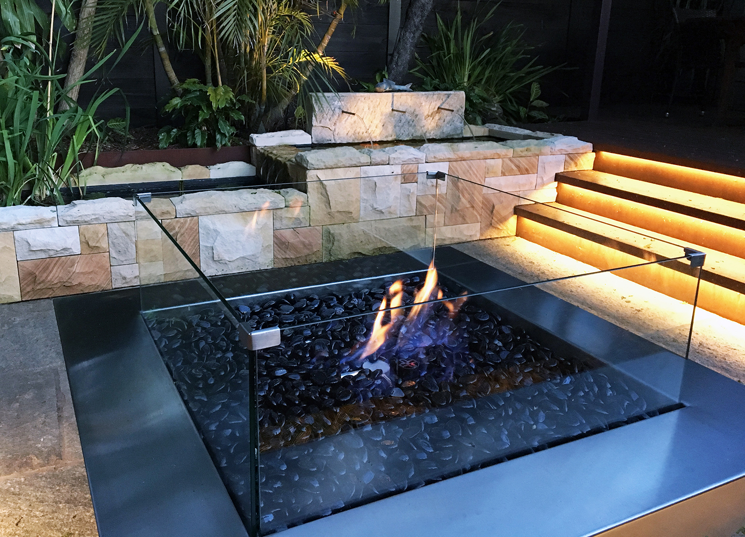 Backyard transformation finishing touch gas fire pit