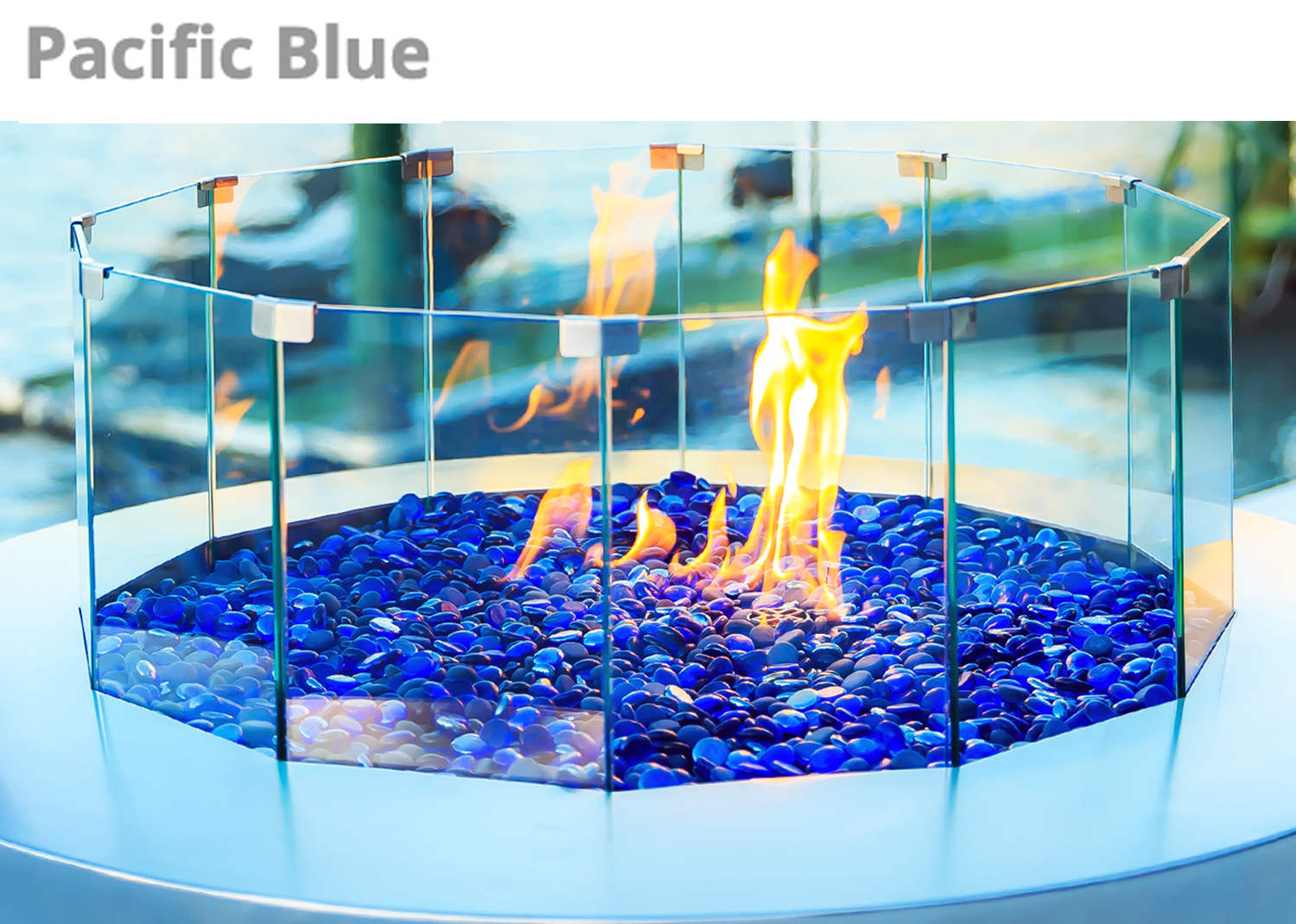 Pacific Blue Fire Pit Glass Pebbles Australia