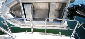 Southern stainless stern and duckboard rail with dinghy mount