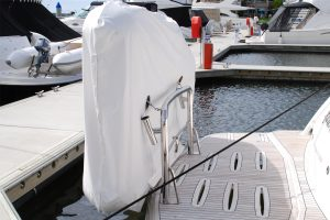 Stainless dinghy snap davit mounts, supoorts and rod holders