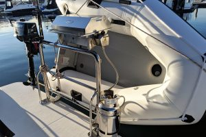 Stainless outboard bracket, dinghy snap davit mounts, welded pins and gas bottle holder