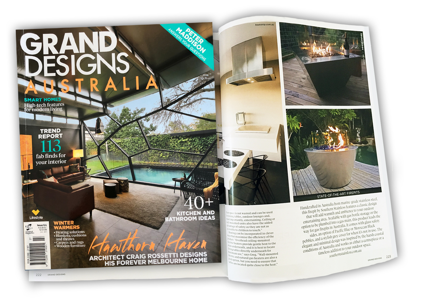 Gas Fire Pit featured in Grand Designs Magazine Australia