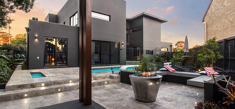 gas fire pit at Sydney home