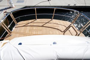 Stainless duckboard rail on luxury motor yacht