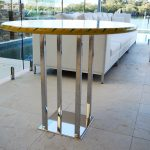 Stainless Steel Furniture, Custom bar table with stainless legs and wooden top