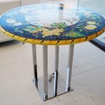 Stainless Steel Furniture, Custom stainless bar table with painted top