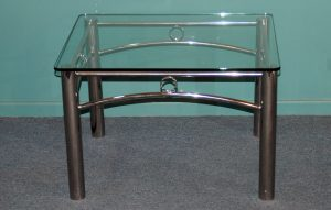 Stainless Steel Furniture, Detailed stainless coffee table with glass top