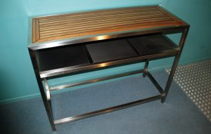Stainless Steel Furniture, Stainless bench table with shelf and timber top