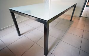 Stainless Steel Furniture, Stainless dining table with glass top