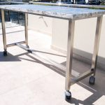Stainless Steel Furniture, Stainless trolley with stone top on wheels