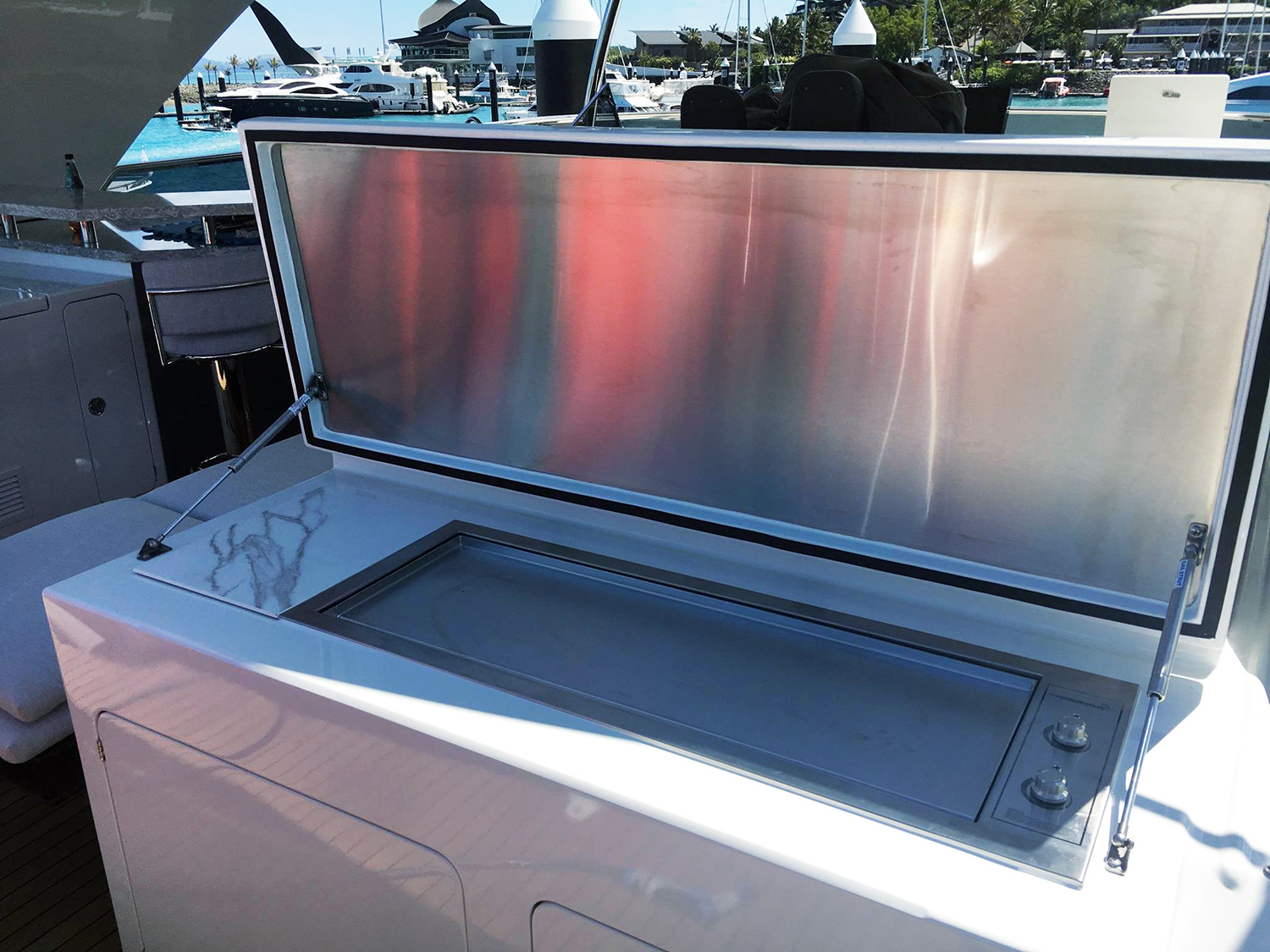 Australian custom 110V electric stainless bbq on luxury boat