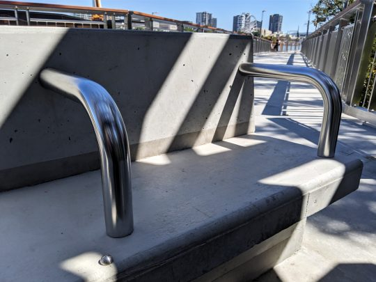 Brisbane Queen's Wharf stainless steel seat arm rests fabrication