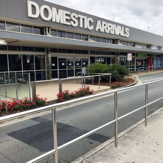 Stainless steel handrail at Gold Coast Airport by Southern Stainless