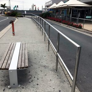 Stainless steel safety handrail at Gold Coast Airport