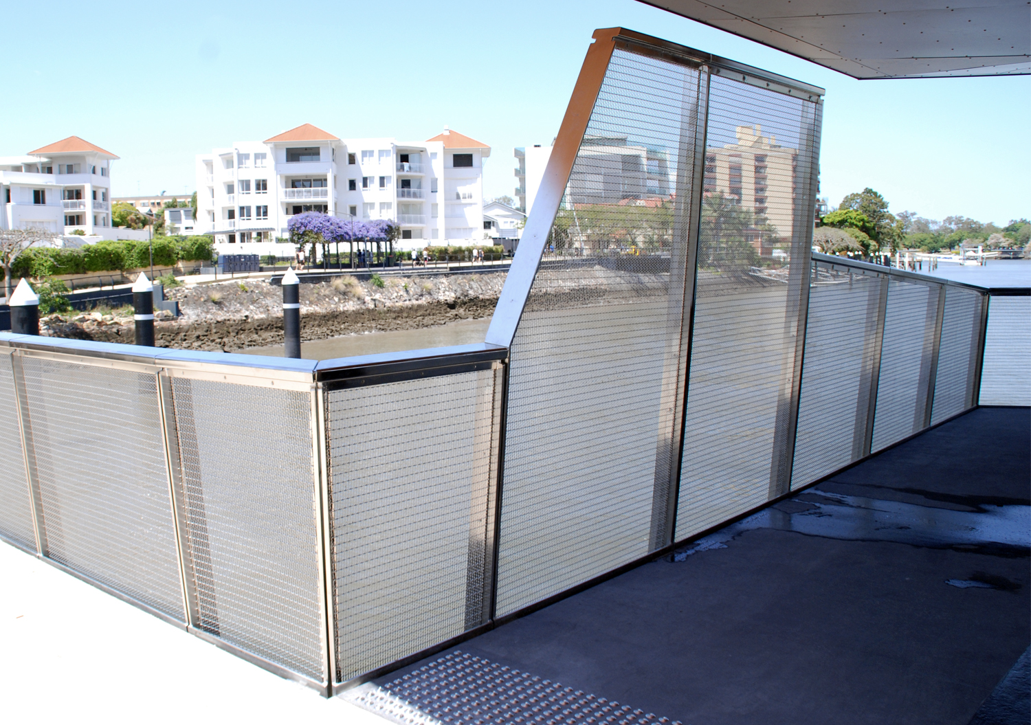 Brisbane Riverwalk stainless balustrade with mesh panel infill Australia