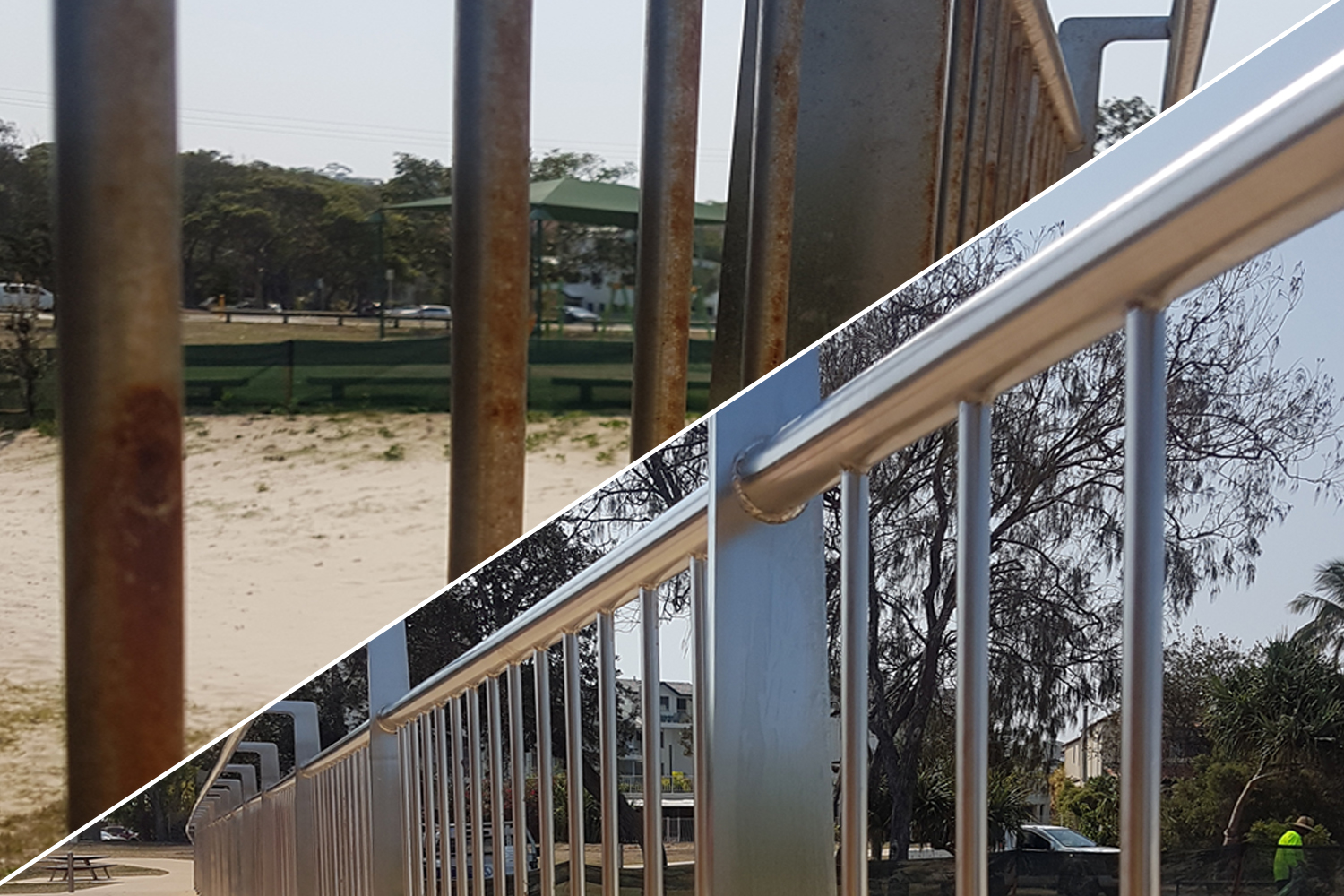 Cleaning stainless steel balustrade and handrails Australia