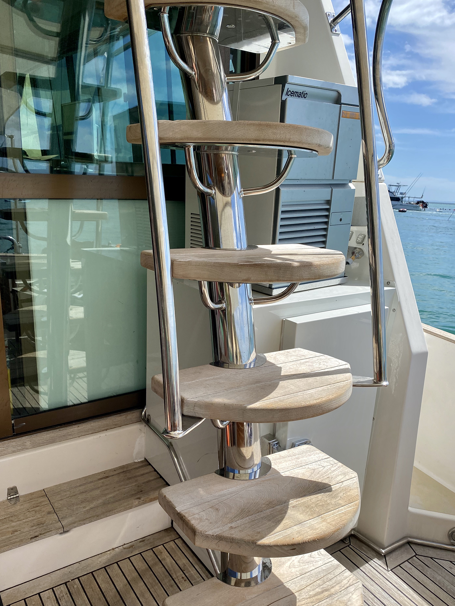 Custom stainless steel boat flybridge ladder Riviera Australia