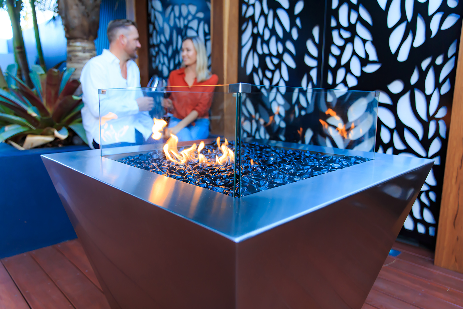 Stainless steel gas fire pit