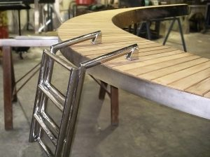 Custom duckboard with stainless ladder