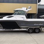 Custom boat trailer stainless bow protectors