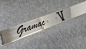 Laser etching stainless steel boat name plate in-house