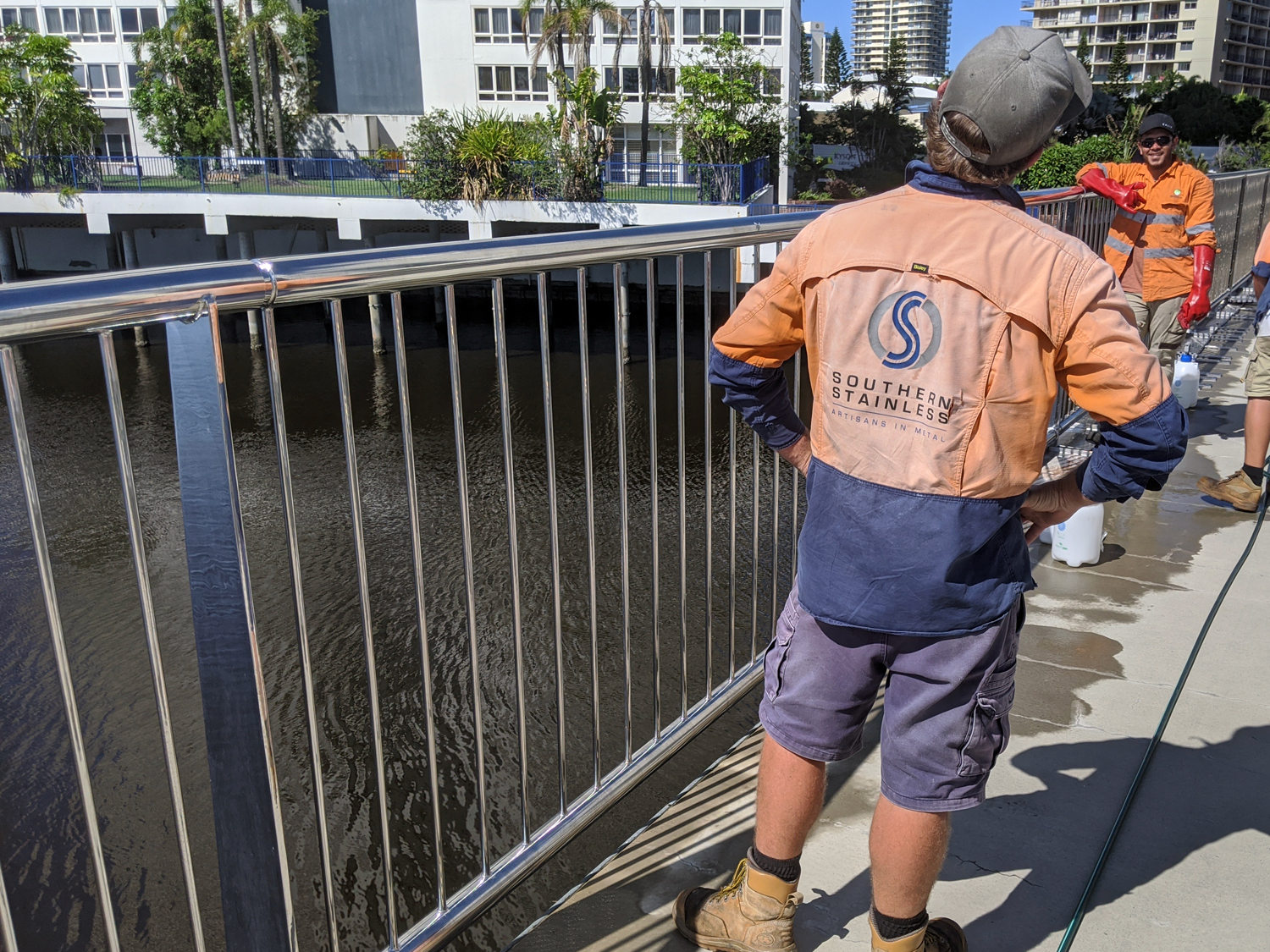 Cleaning outdoor stainless, Thomas Drive Bridge Surfers Paradise QLD