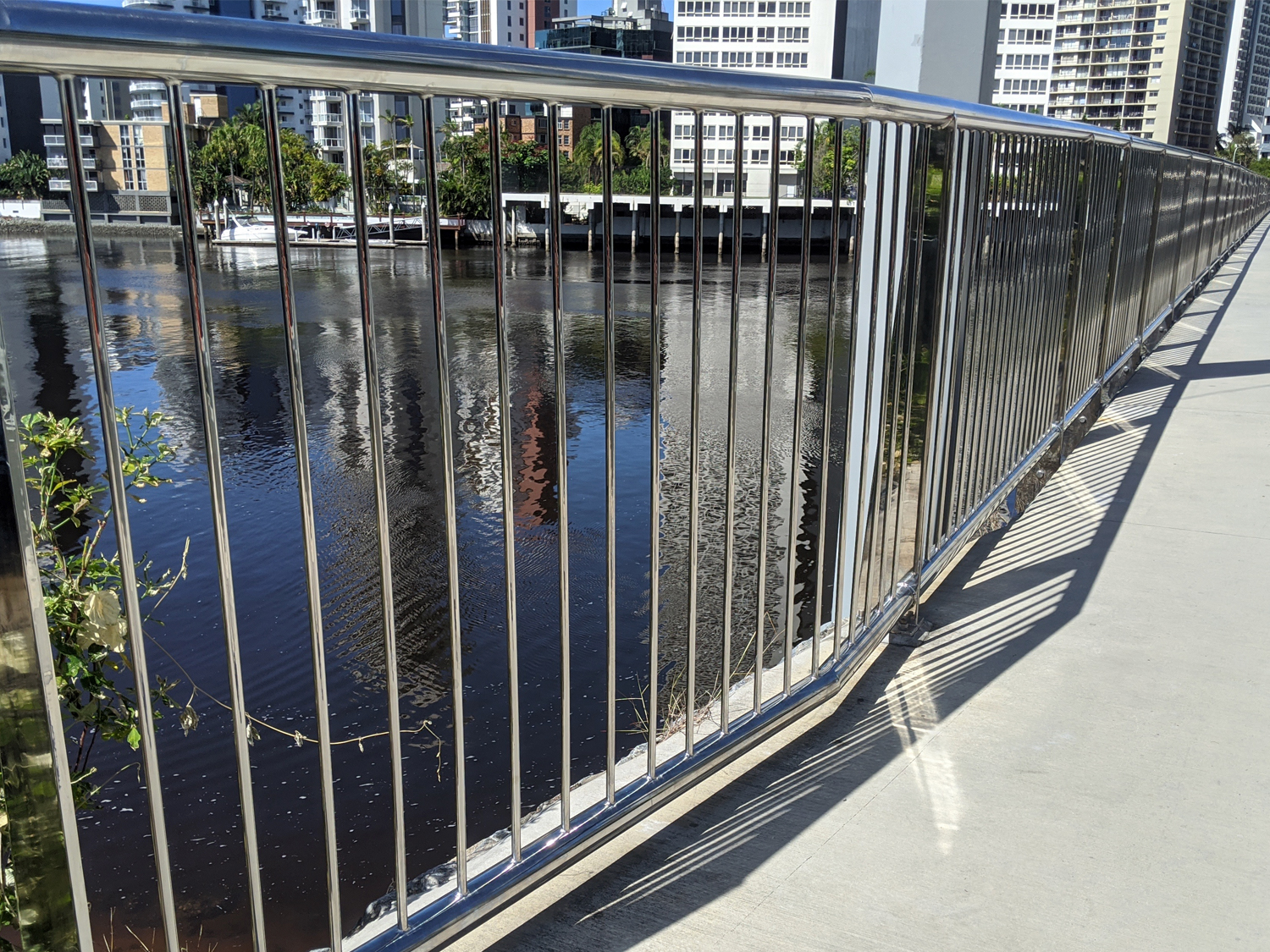 Cleaning outdoor stainless steel baustrade, Thomas Drive Bridge Surfers Paradise QLD