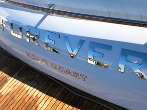 Boat names stainless steel Australia Princess Yachts